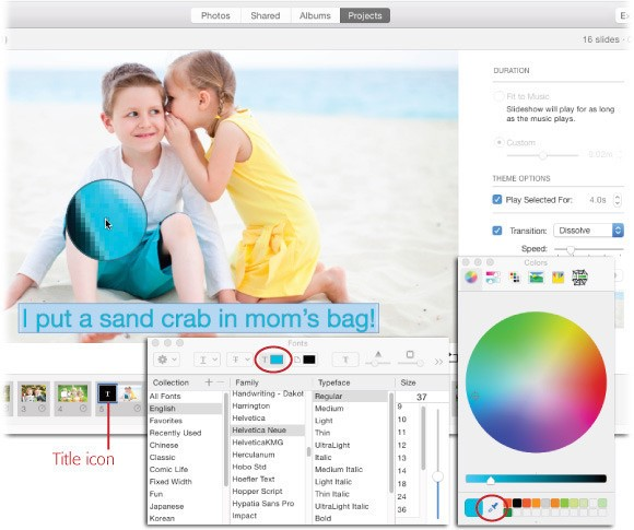 Add text to slideshow in Photos for Mac