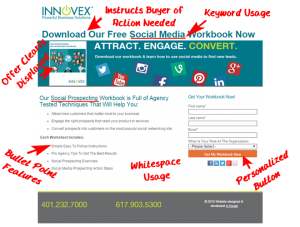 INNOVEX action oriented landing page