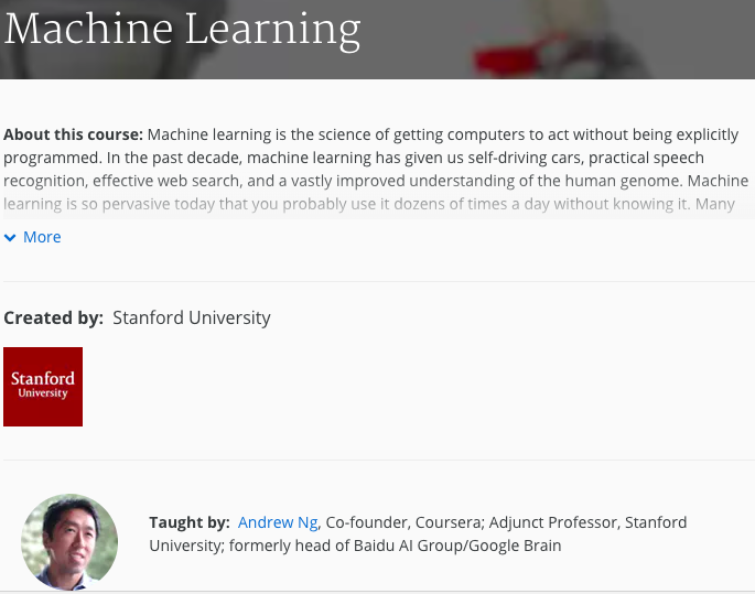 Free machine learning course by Andrew Ng