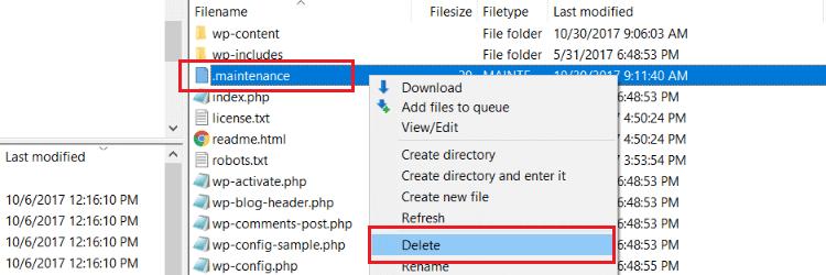 WordPress maintenance file
