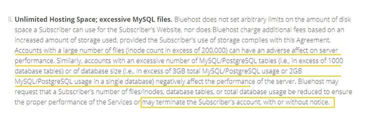Database limitation