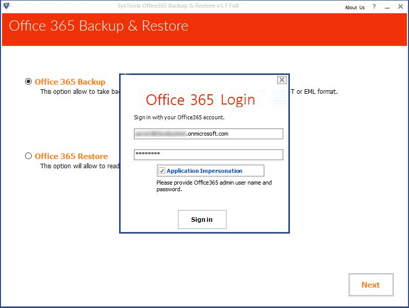 login with O365 credentials