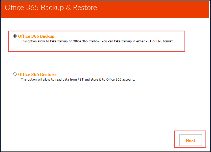 2. Select Restore option