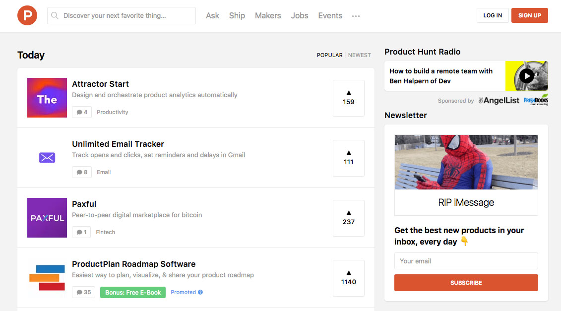 Startups Page on ProductHunt