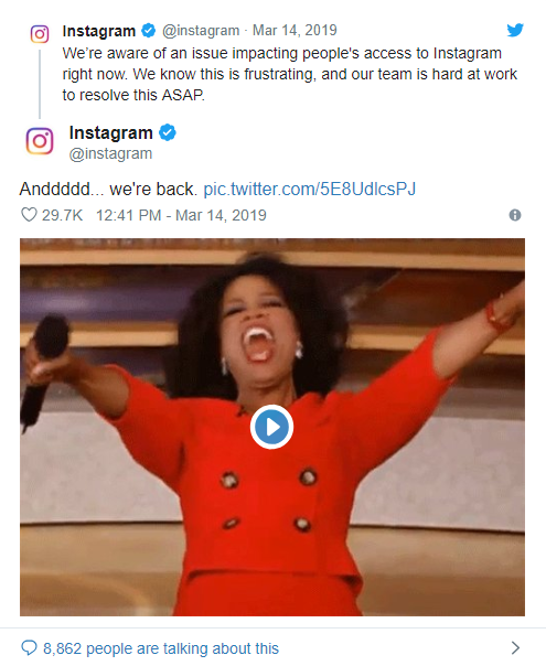 "Instagram post showing Oprah celebrating ""Annnd we're back"""