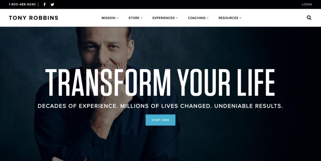 Tony Robbins, homepage.