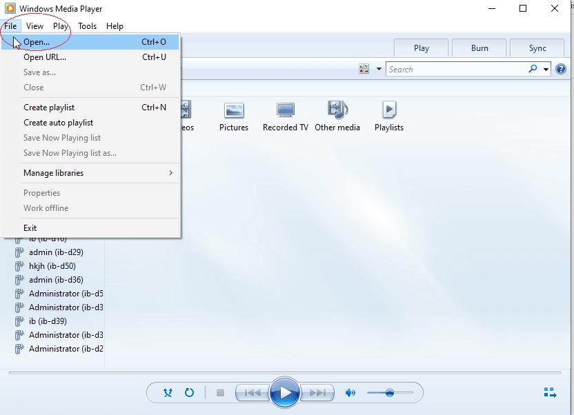 WindowsMediaPlayerOpenFile