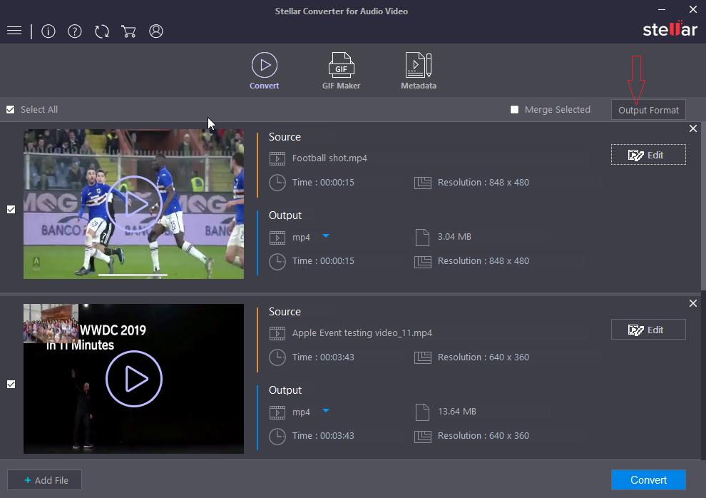 stellar converter for audio video for Outformat