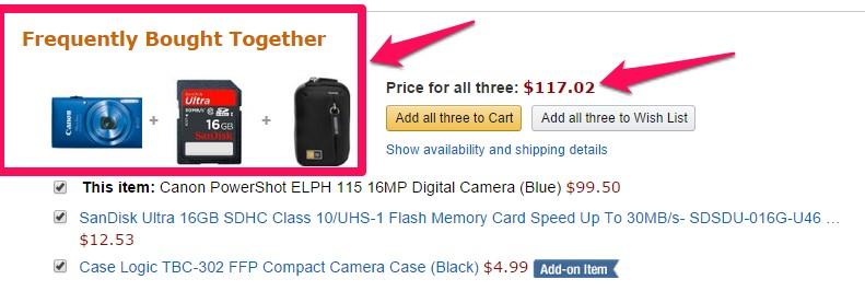 Description: Amazon ecommerce website upsell products